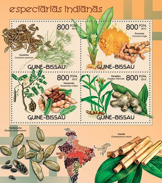 Indian spices - Issue of Guinée-Bissau postage stamps