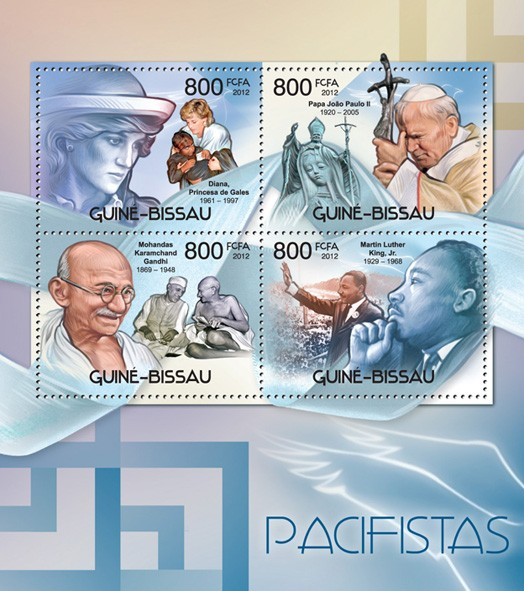 Peace makers (Princess Diana, Pope john Paul II, Mohandas Karamchand Gandhi, Martin Luther King) - Issue of Guinée-Bissau postage stamps