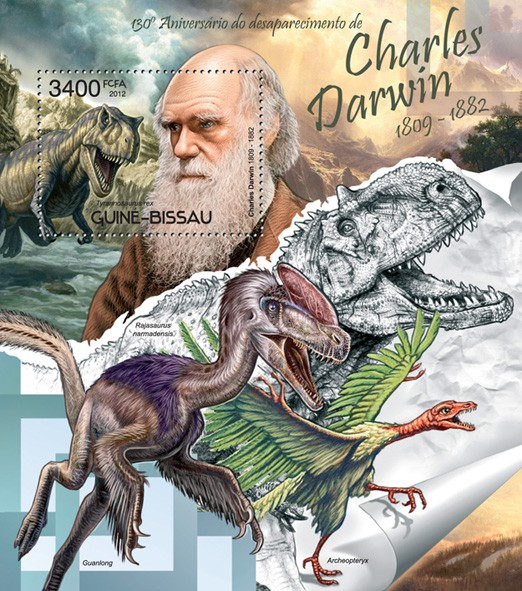 Charles Darwin and dinosaurs - Issue of Guinée-Bissau postage stamps