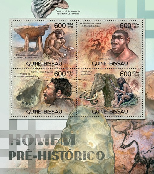 Prehistoric humans - Issue of Guinée-Bissau postage stamps