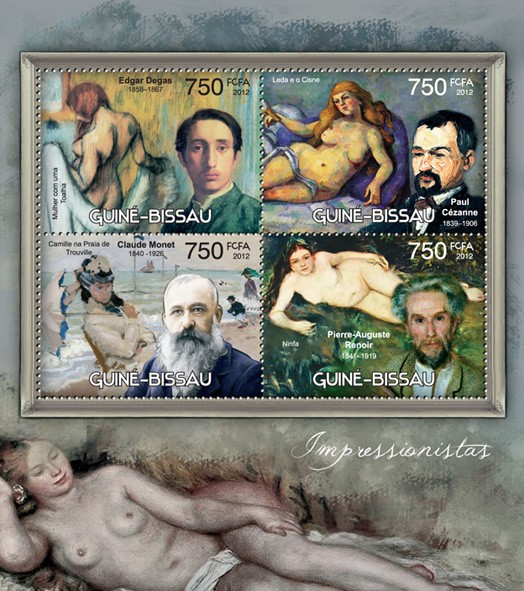 Impressionists (Edgar Degas, Paul Cezanne, Claude Monet, Pierre Auguste Renoir) - Issue of Guinée-Bissau postage stamps