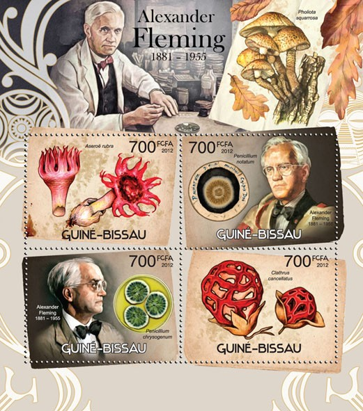 Alexander Fleming + mushrooms - Issue of Guinée-Bissau postage stamps