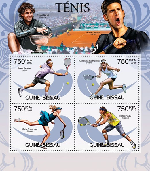 Tennis - Issue of Guinée-Bissau postage stamps