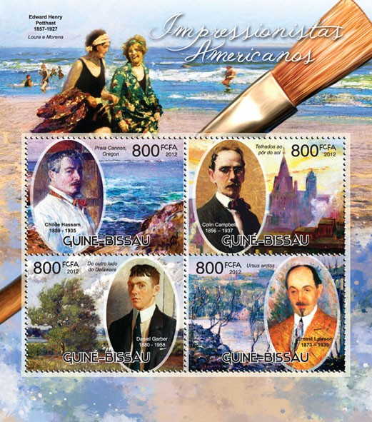 American impressionists - Issue of Guinée-Bissau postage stamps