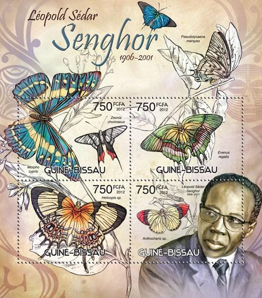Leopold Sedar Senghor & butterflies - Issue of Guinée-Bissau postage stamps