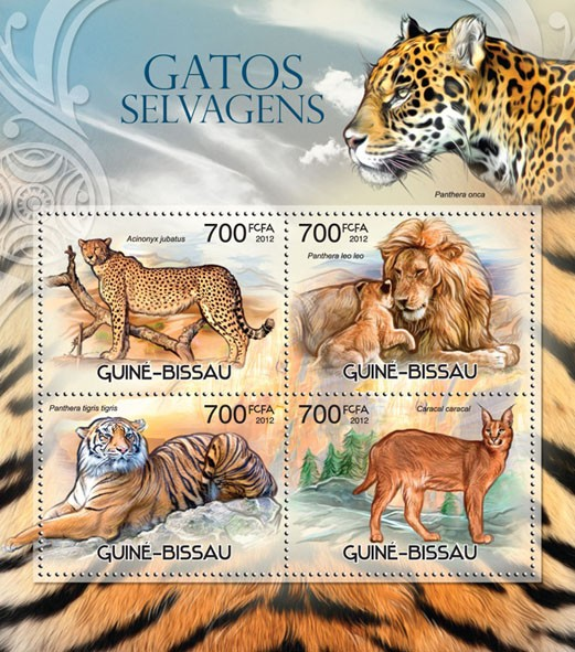 Wild cats - Issue of Guinée-Bissau postage stamps
