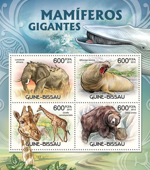 Giant mammals - Issue of Guinée-Bissau postage stamps