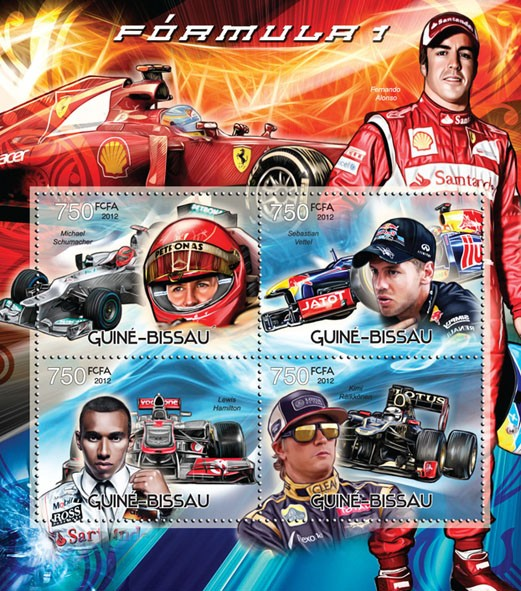 Formula 1 - Issue of Guinée-Bissau postage stamps