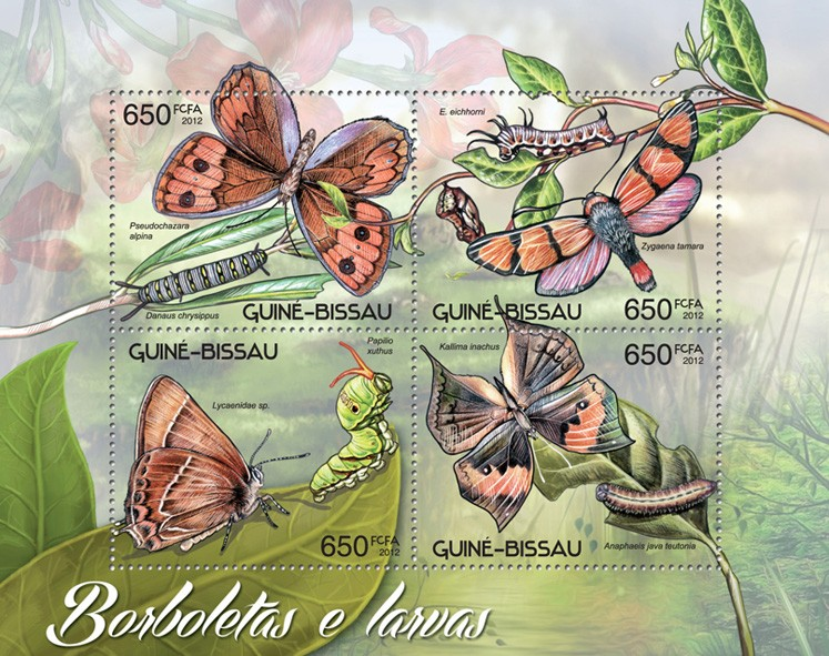 Butterflies & larva - Issue of Guinée-Bissau postage stamps