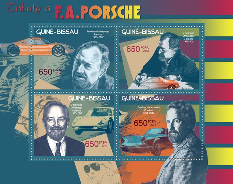 Tribute to F.A. Porsche - Issue of Guinée-Bissau postage stamps