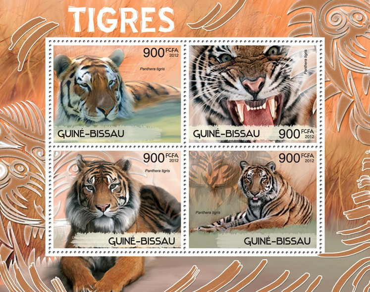 Tigers - Issue of Guinée-Bissau postage stamps