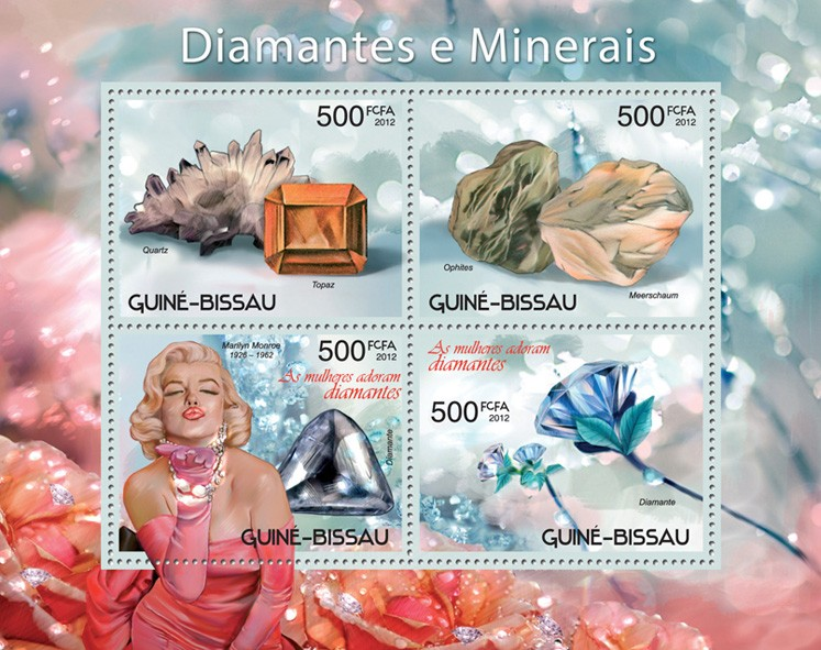 Diamonds - minerals - Issue of Guinée-Bissau postage stamps