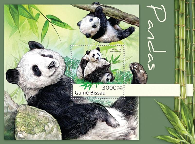 Pandas (Ailuropoda melanoleuca). - Issue of Guinée-Bissau postage stamps