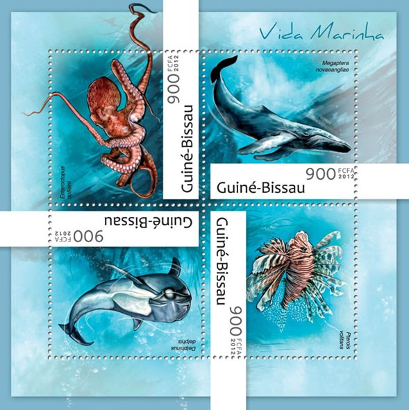 Marine life (Enteroctopus dofleini) - Issue of Guinée-Bissau postage stamps