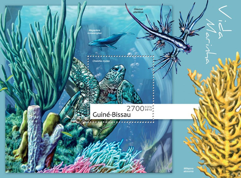 Marine life (Chelonia mydas). - Issue of Guinée-Bissau postage stamps