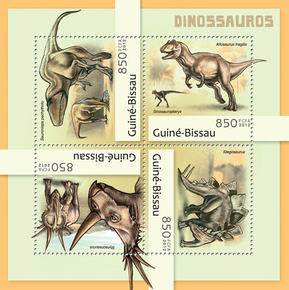 Dinosaurs (Sauroniops pachytholu). - Issue of Guinée-Bissau postage stamps