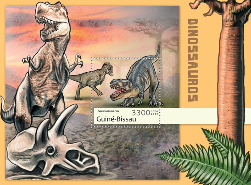 Dinosaurs (Tyrannosaurus Rex). - Issue of Guinée-Bissau postage stamps