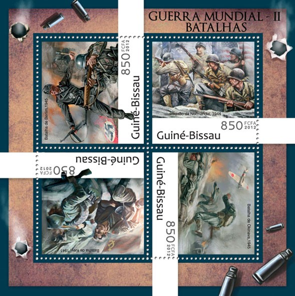 WW II battles (Berlin 1945) - Issue of Guinée-Bissau postage stamps