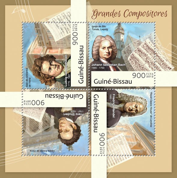 Great composers (Liudvig van Bethoven). - Issue of Guinée-Bissau postage stamps