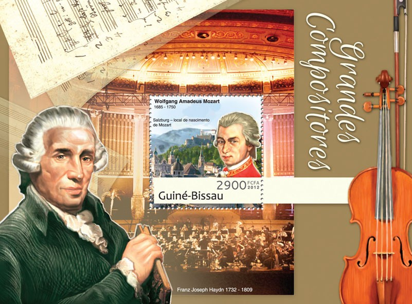 Great composers (Wolfgang Amadeus Mozart). - Issue of Guinée-Bissau postage stamps