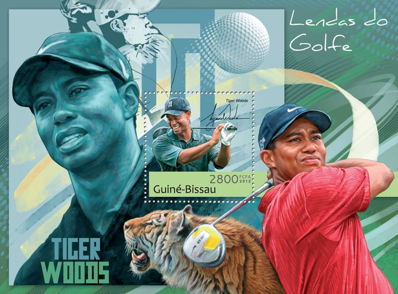 Golf legends (Tiger Woods). - Issue of Guinée-Bissau postage stamps
