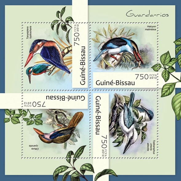 Kingfishers (Tanysiptera hydrocharis). - Issue of Guinée-Bissau postage stamps