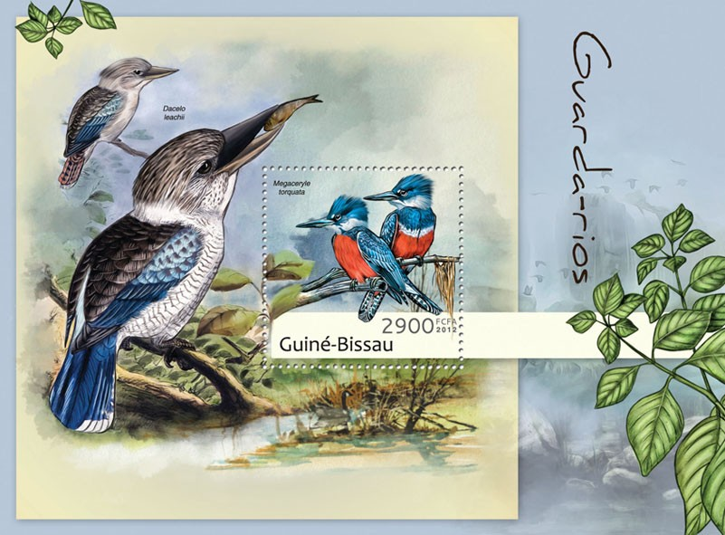 Kingfishers (Megaceryle torquata). - Issue of Guinée-Bissau postage stamps