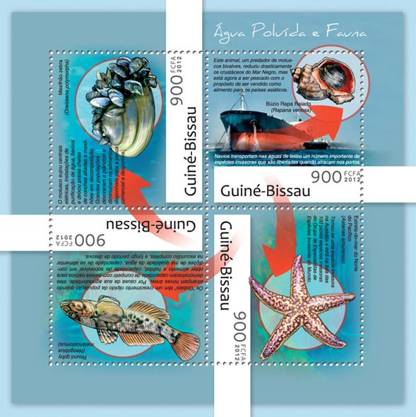 Water pollution & fauna (Ships, shells, fishes). - Issue of Guinée-Bissau postage stamps