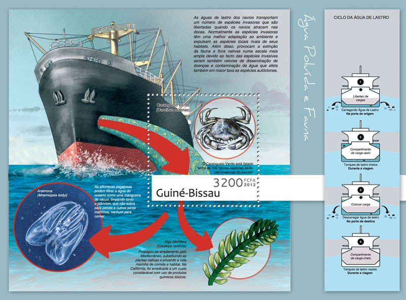 Water pollution & fauna (Ships, Crabs). - Issue of Guinée-Bissau postage stamps