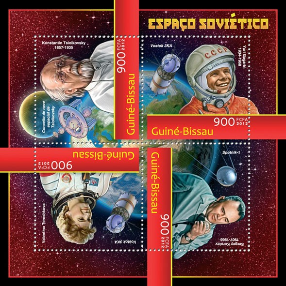 Soviet space (Konstantin Tsiolkovsky, Gagarin, Voston 3KA). - Issue of Guinée-Bissau postage stamps