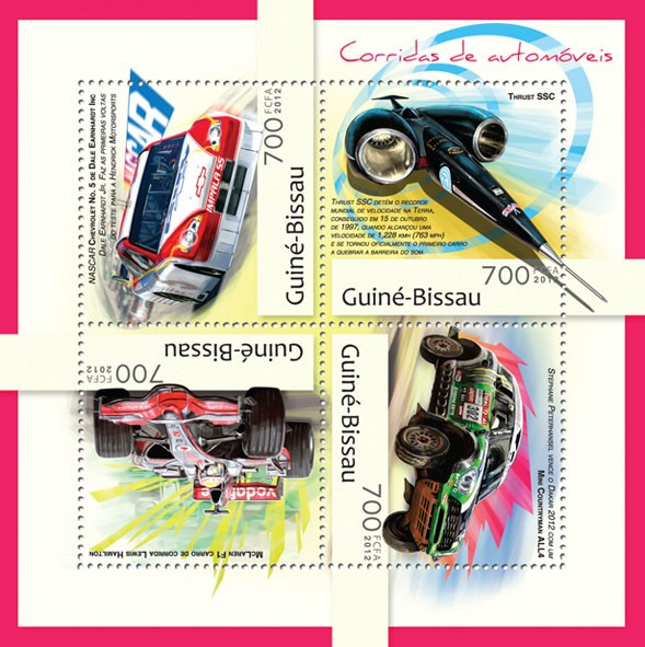 Racing cars (NASCAR, Chevrolet  No. 5) - Issue of Guinée-Bissau postage stamps