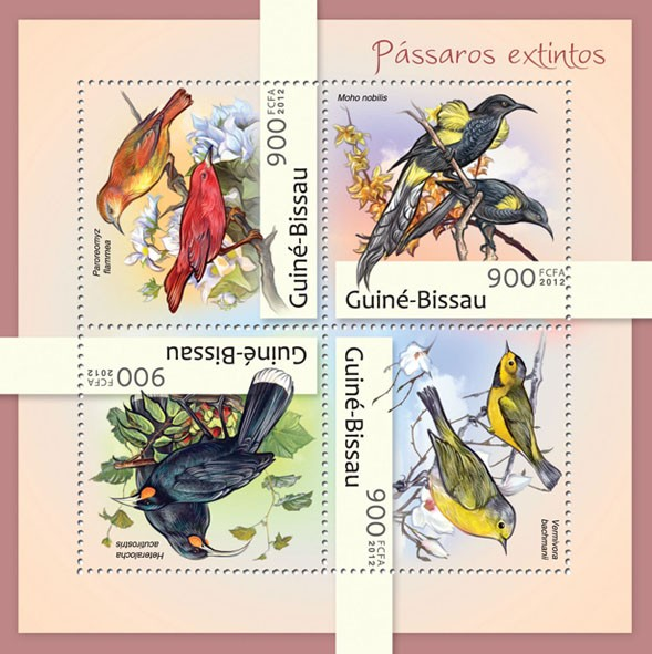 Extinct birds (Paroreomyz flammea). - Issue of Guinée-Bissau postage stamps