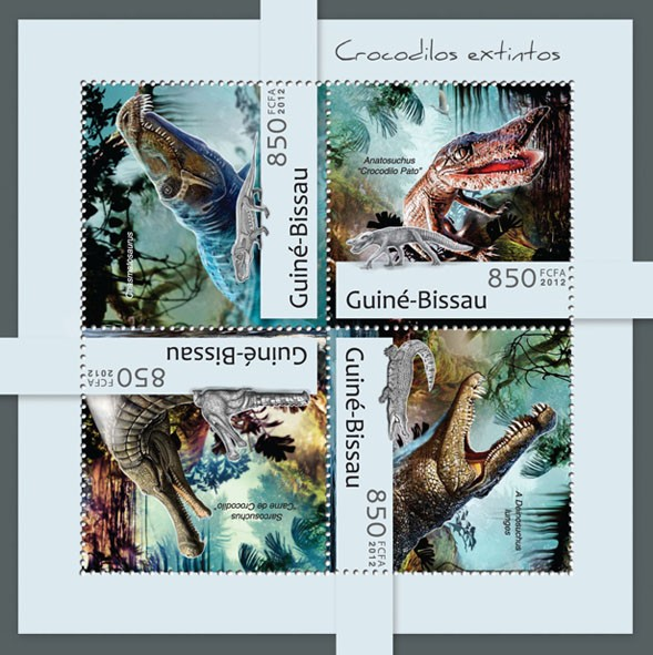 Extinct Crocodile (Chasmatosaurus). - Issue of Guinée-Bissau postage stamps