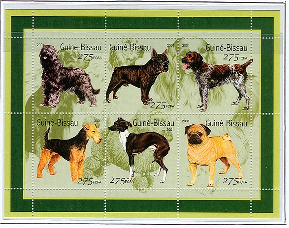 Chiens - Dogs       6 x 275 FCFA - Issue of Guinée-Bissau postage stamps