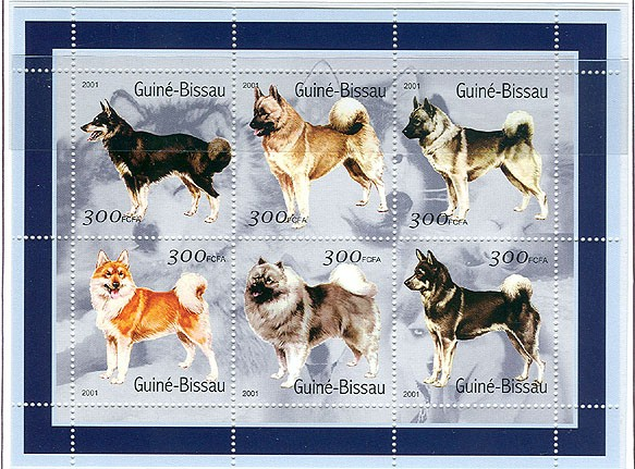 Chiens - Dogs       6 x 300 FCFA - Issue of Guinée-Bissau postage stamps