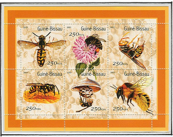 Abeilles - Bees 6 x 250 FCFA - Issue of Guinée-Bissau postage stamps
