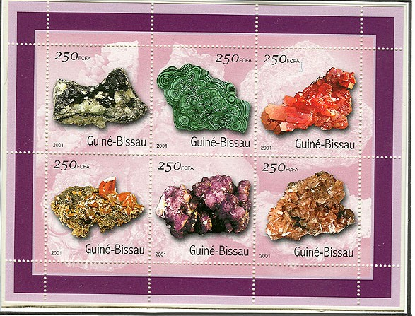 Mineraux - Minerals   6 x 250 FCFA - Issue of Guinée-Bissau postage stamps
