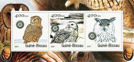 Hiboux (Rotary) - Owls S/S collectifs - Issue of Guinée-Bissau postage stamps