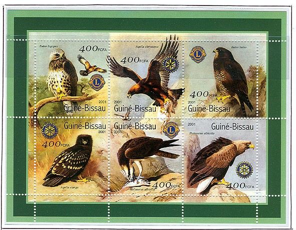 Rapaces (Lions-Rotary) - Eagles   6 x 400 FCFA - Issue of Guinée-Bissau postage stamps