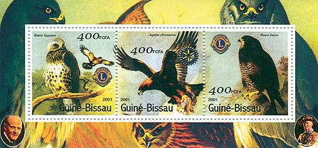 Rapaces (Lions-Rotary) - Eagles S/S collectifs - Issue of Guinée-Bissau postage stamps