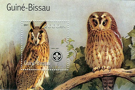 Hiboux (Scouts) - Owls 2000 FCFA S/S - Issue of Guinée-Bissau postage stamps
