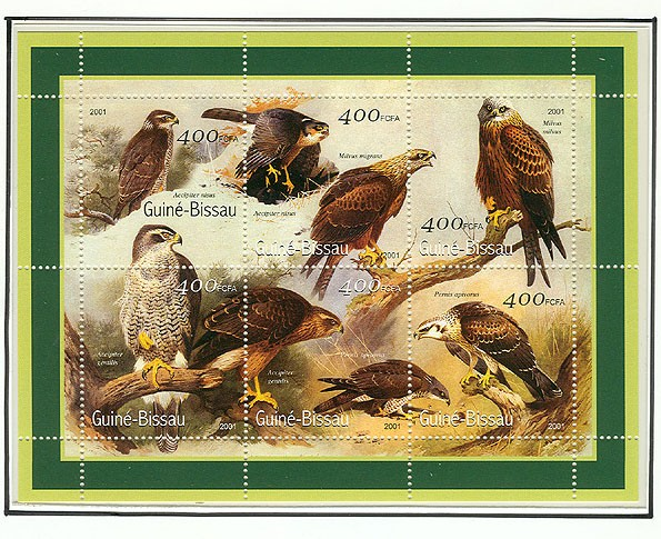 Rapaces - Eagles    6 x 400 FCFA - Issue of Guinée-Bissau postage stamps