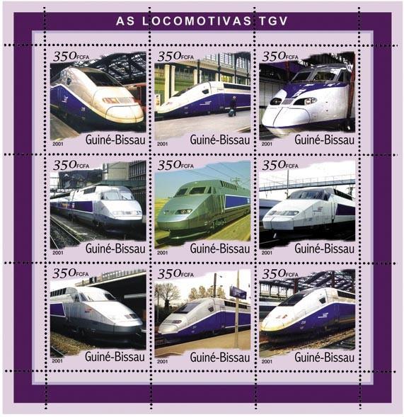 T.G.V. 9 x 350 FCFA - Issue of Guinée-Bissau postage stamps
