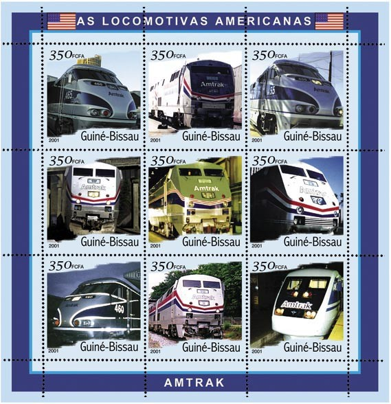 Amtrak 9 x 350 FCFA - Issue of Guinée-Bissau postage stamps