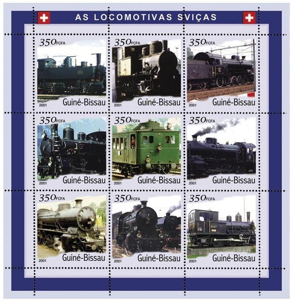 Trains Suise 9 x 350 FCFA - Issue of Guinée-Bissau postage stamps