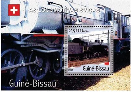 Trains Suise 2500 FCFA S/S - Issue of Guinée-Bissau postage stamps
