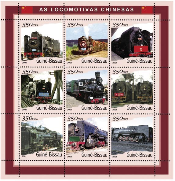 Trains Chinois 9 x 350 FCFA - Issue of Guinée-Bissau postage stamps
