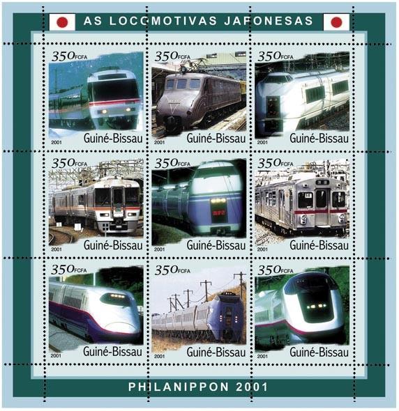 Trains Japonais 9 x 350 FCFA - Issue of Guinée-Bissau postage stamps