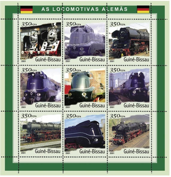 Trains Allemand 9 x 350 FCFA - Issue of Guinée-Bissau postage stamps