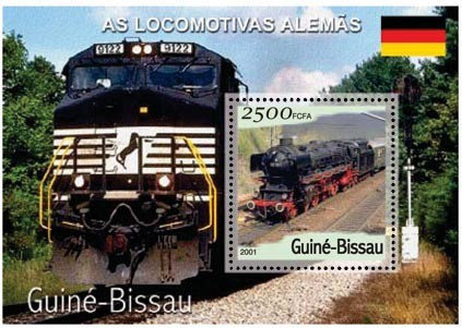 Trains Allemand 2500 FCFA S/S - Issue of Guinée-Bissau postage stamps